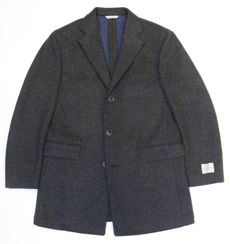 Italian Wool Stretch Coat - Grey/Blue