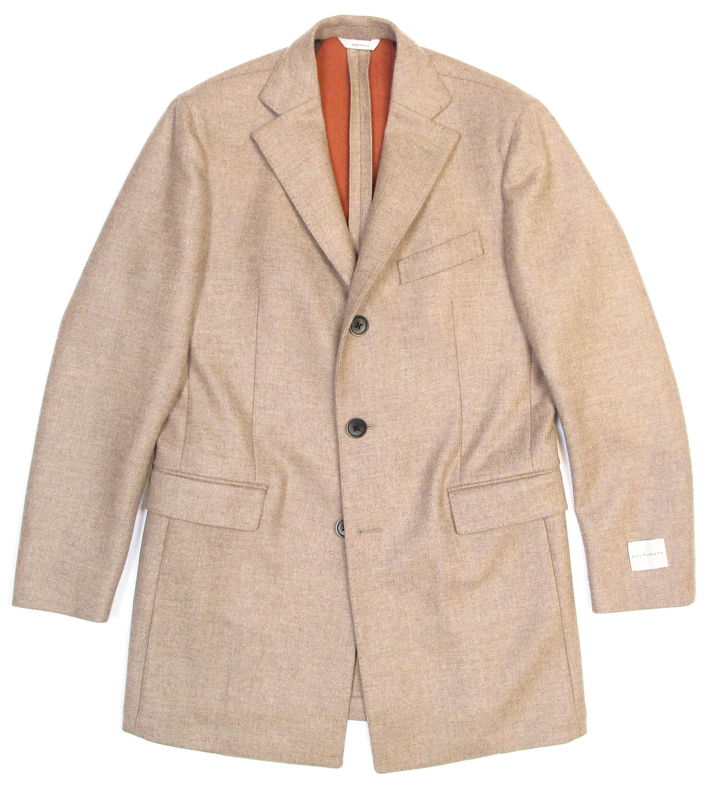 Italian Wool Stretch Coat - Tan/Orange
