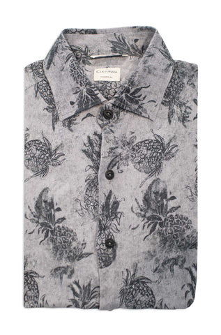 Soft Washed Macro Pineapple Print Short Sleeve Shirt- Grey