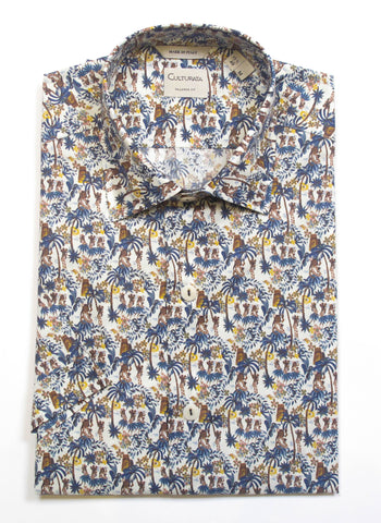 Tropical Dancer Print Short Sleeve Shirt