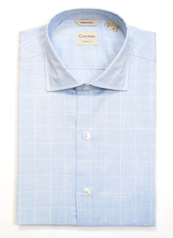 Soft Mélange Plaid Short Sleeve Shirt - Light Blue