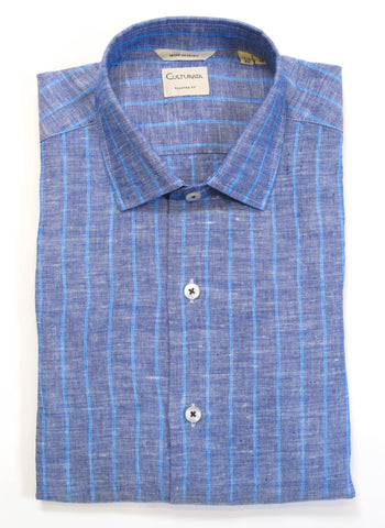Soft Graph Check Shirt - Navy