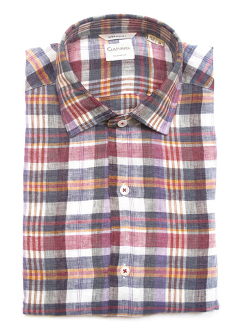 Soft Washed Linen Shirt - Purple Plaid