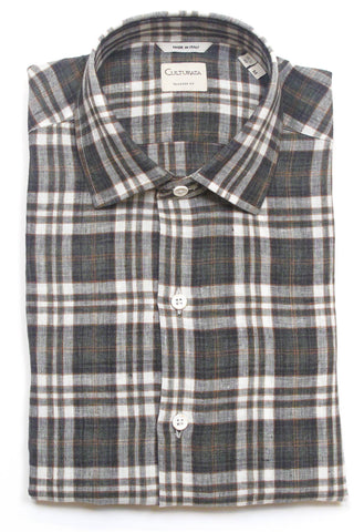 Soft Washed Linen Shirt - Green Plaid