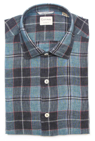 Soft Washed Linen Shirt - Aqua Plaid