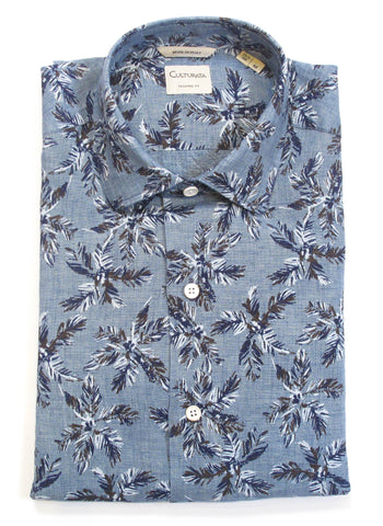 Soft Washed Palm Leaf Print Linen Short Sleeve Shirt - Blue