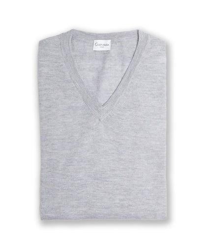 Crans Fine Gauge Merino V-Neck - Grey