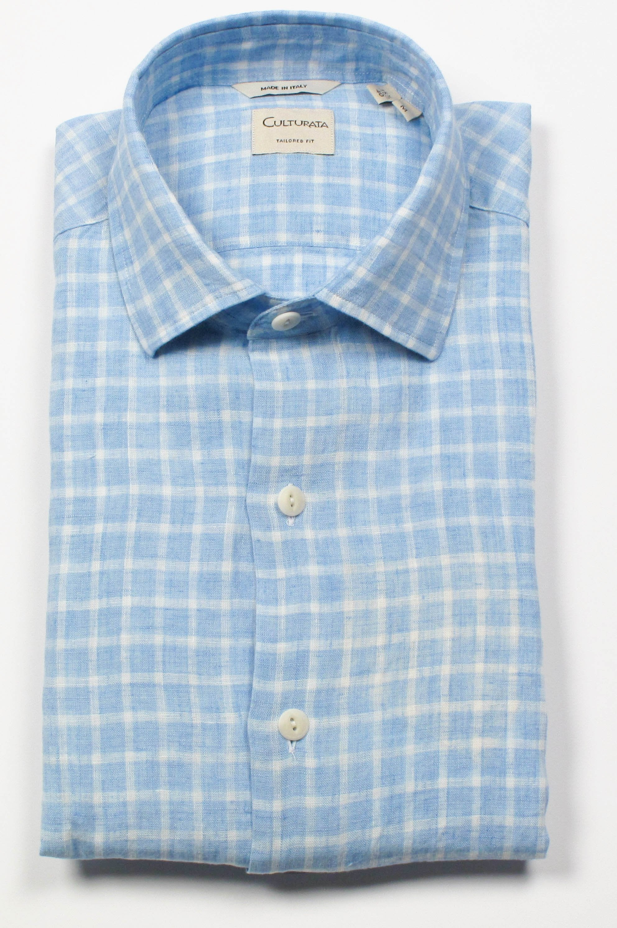 Linen Check - Light Blue