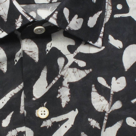 Men's Soft Cotton Leaf Print Shirt