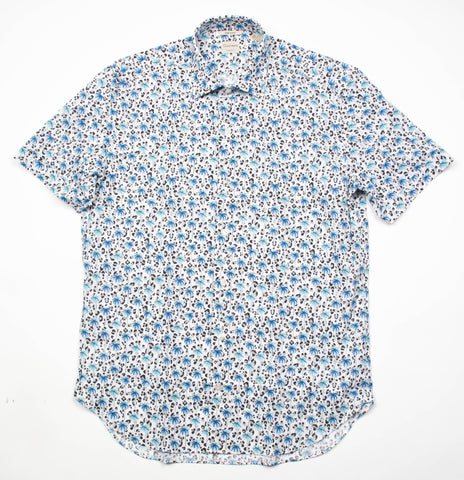 Short Sleeve Tropical Print - Blue
