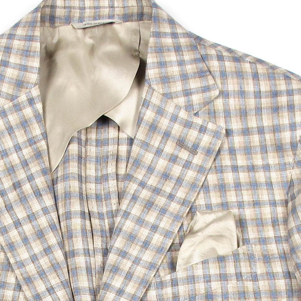 Men's Soft Washed Tailored Plaid Linen Jacket