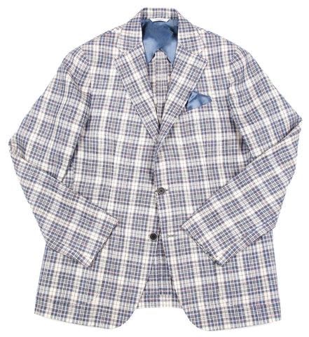 Plaid Italian Linen Blazer - Tan
