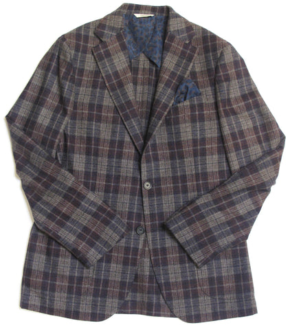 Two Button Plaid Jacket - Burgundy