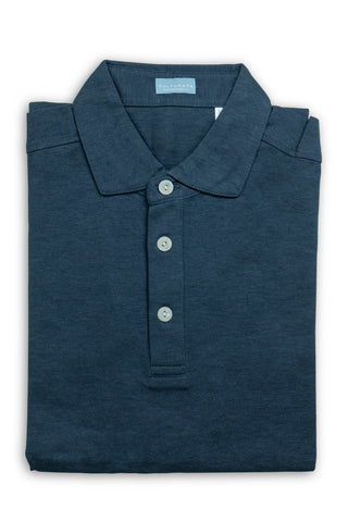Italian Wool Long Sleeve Polo  - Navy