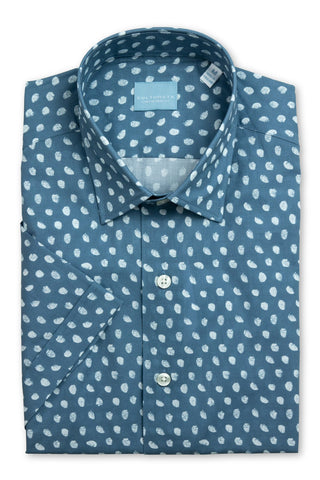 Short Sleeve Dot Print Shirt - Blue