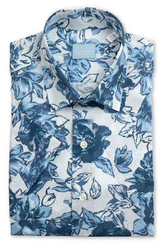 Short Sleeve Tropical Print Shirt - Blue