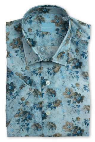 Short Sleeve Wallpaper Floral Print Shirt - Blue