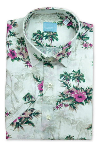 Short Sleeve Tropical Floral Print Shirt - Pink