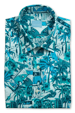 Short Sleeve Large Tropical Print Shirt - Blue