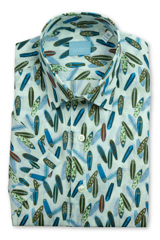 Short Sleeve Surfboard Print Shirt - Blue