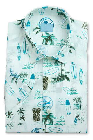Short Sleeve Hawaiian Print Shirt - Blue