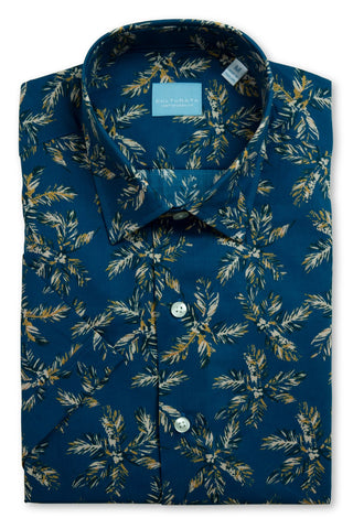 Short Sleeve Palm Tree Print Shirt - Navy