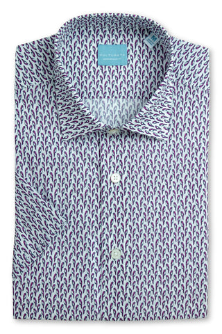 Geometric Print Shirt - Navy