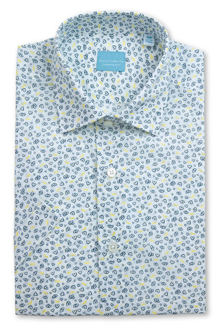 Short Sleeve Micro Floral Print Shirt - Red