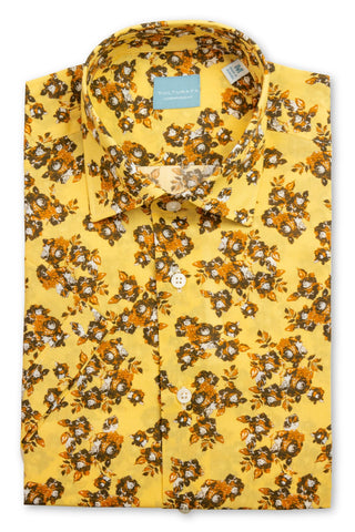 Short Sleeve Floral Print Shirt - Yellow