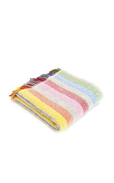 Wool Throw Grey Rainbow