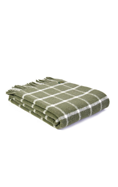 Wool Throw Olive Windowpane
