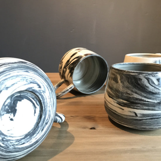 emslie + Hackney Potter  B+W Marbled mugs