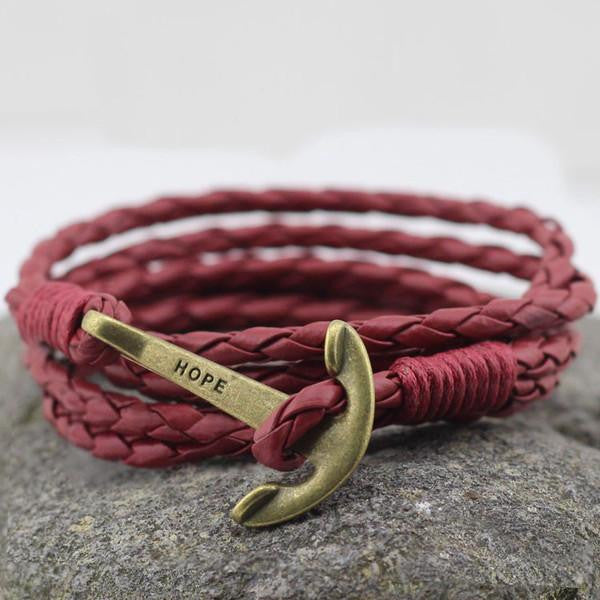Wrap Leather Anchor Bracelet in Burgundy