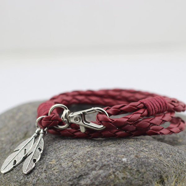 Leather Wrap Bracelet With Feather in Burgundy