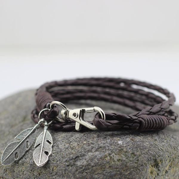 Leather Wrap Bracelet With Feather in Dark Brown