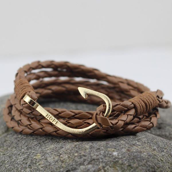 Hook Leather Wrap Bracelet In Brown
