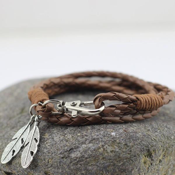 Leather Wrap Bracelet With Feather in Brown