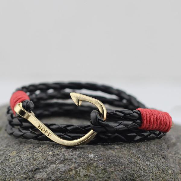 Contrast Hook Leather Wrap Bracelet In Dark Brown