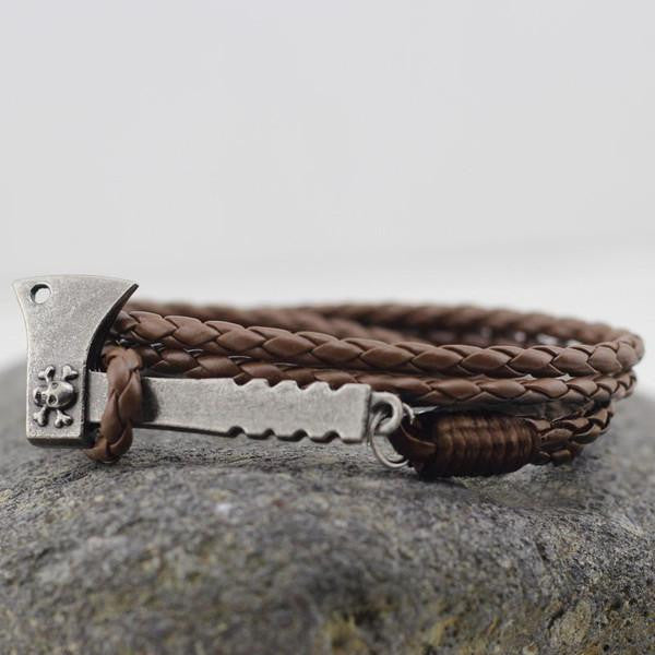 Plaited Leather Wrap Bracelet In Brown