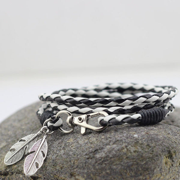 Contrast Leather Wrap Bracelet With Feather