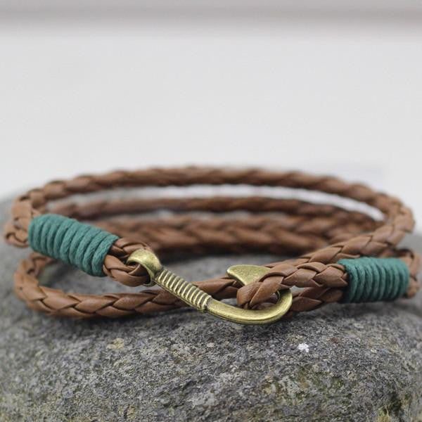 Contrast Hook Leather Wrap Bracelet In Brown