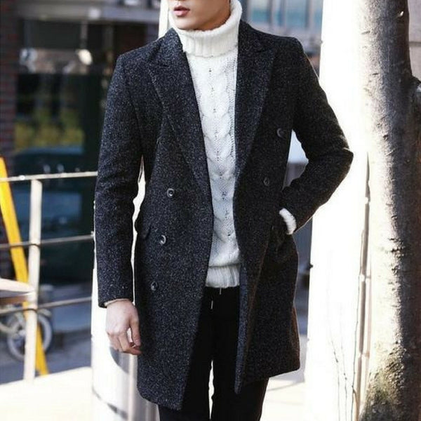 Herringbone Wool-Rich Coat