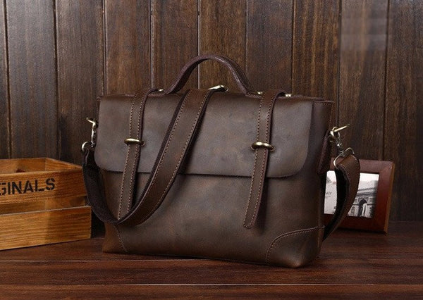 Leather Retro Satchel In Brown With Straps