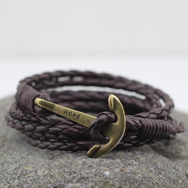 Wrap Leather Anchor Bracelet in Dark Brown