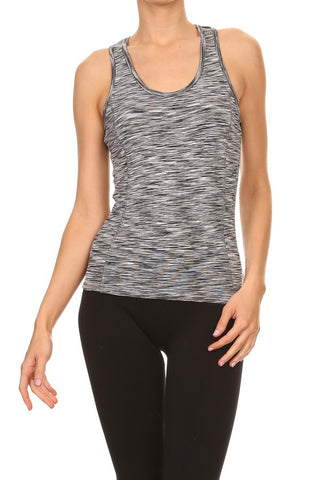 Gray Space Knit Workout Tank