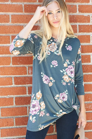 Charcoal Floral 3/4 Sleeve Shirt