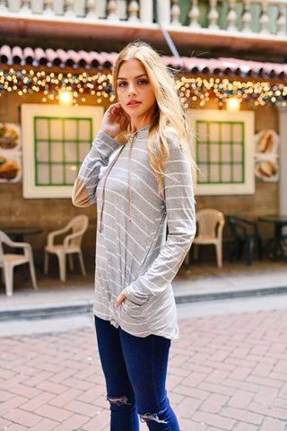 Grey Stripe Hooded Tunic with Suede Elbow Patch