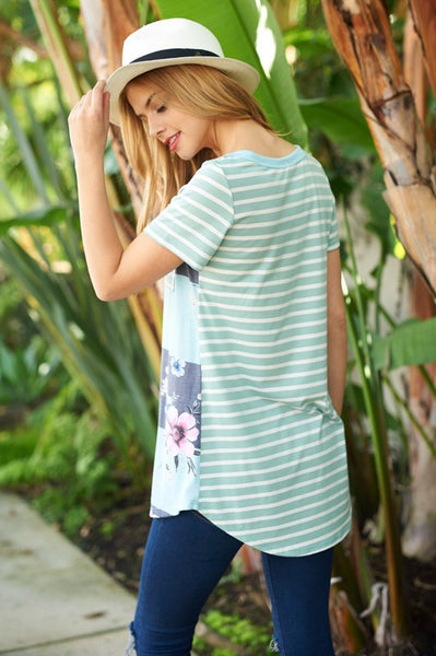 Ashlee Mint Striped Floral Tee