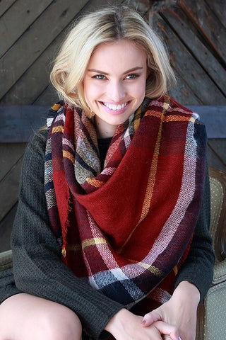 Fireplace Plaid Blanket Scarf
