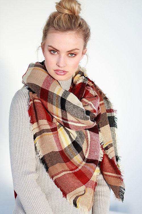 Earth Tone Plaid Blanket Scarf